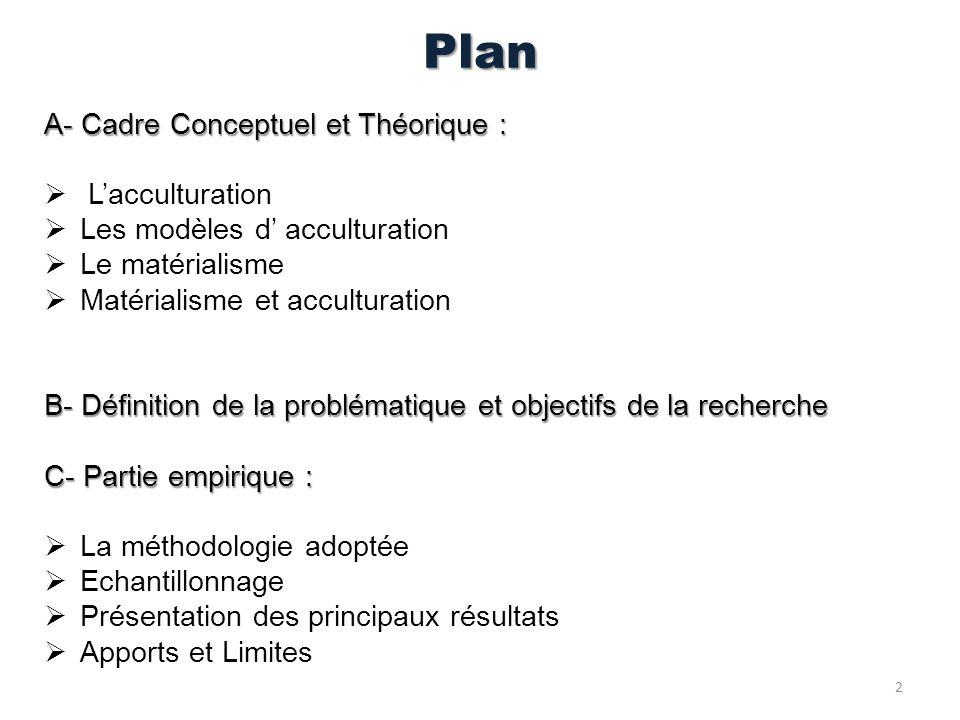 Plan A- Cadre Conceptuel et Théorique : L'acculturation