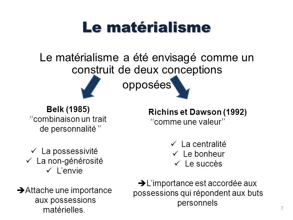 Le matérialisme Le matérialisme a été envisagé comme un construit de deux conceptions. opposées. Belk (1985)