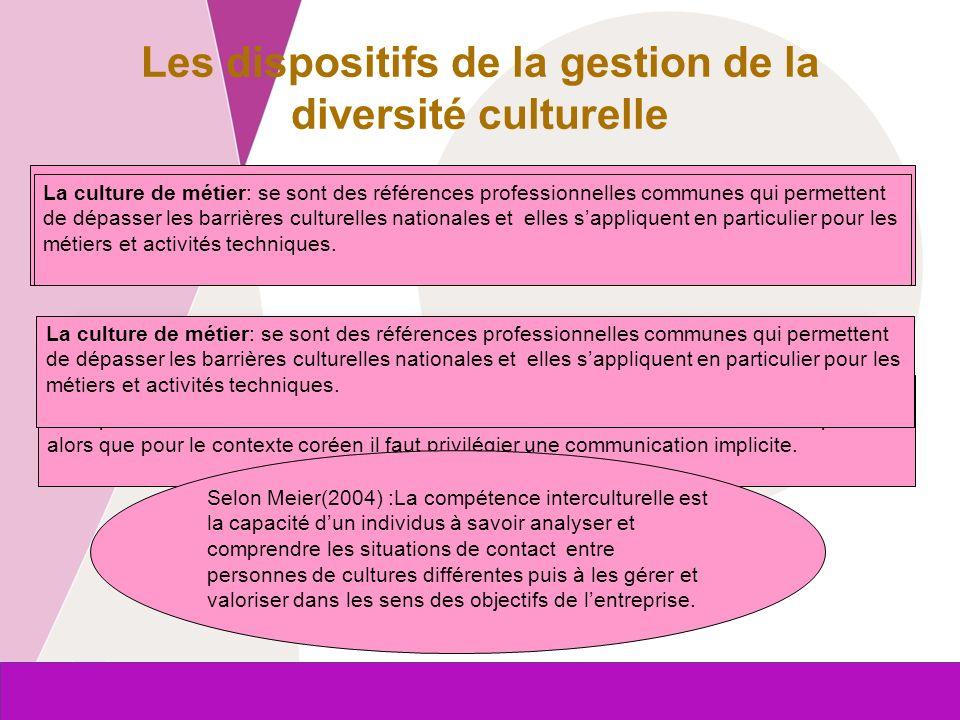 Les dispositifs de la gestion de la diversité culturelle