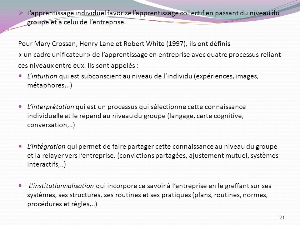 Pour Mary Crossan, Henry Lane et Robert White (1997), ils ont définis