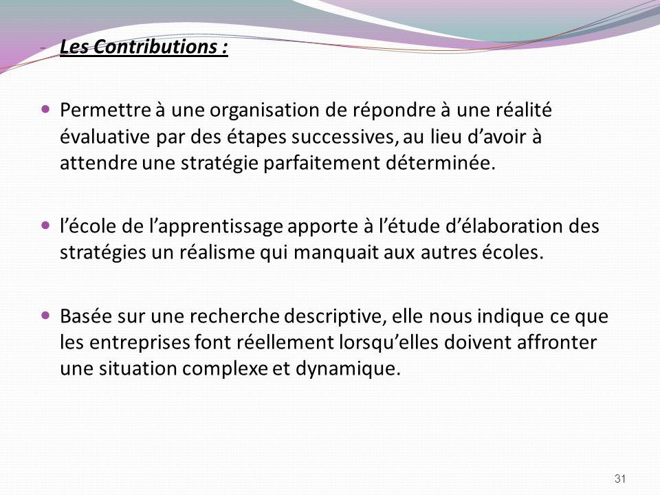 Les Contributions :