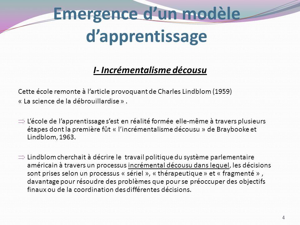 Emergence d'un modèle d'apprentissage