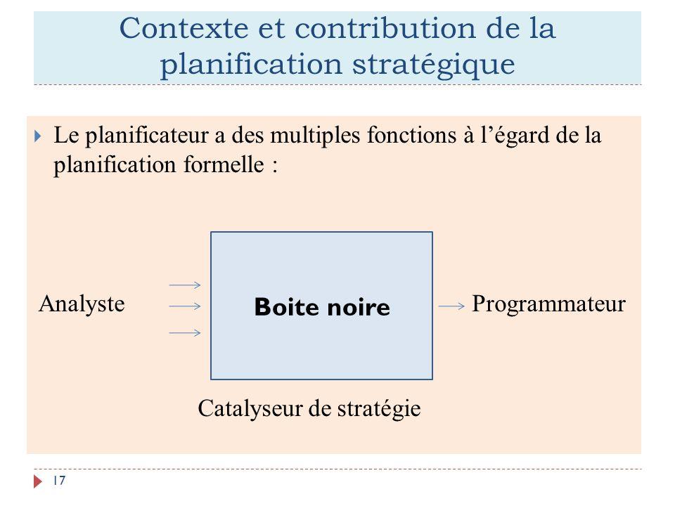 Contexte et contribution de la planification stratégique