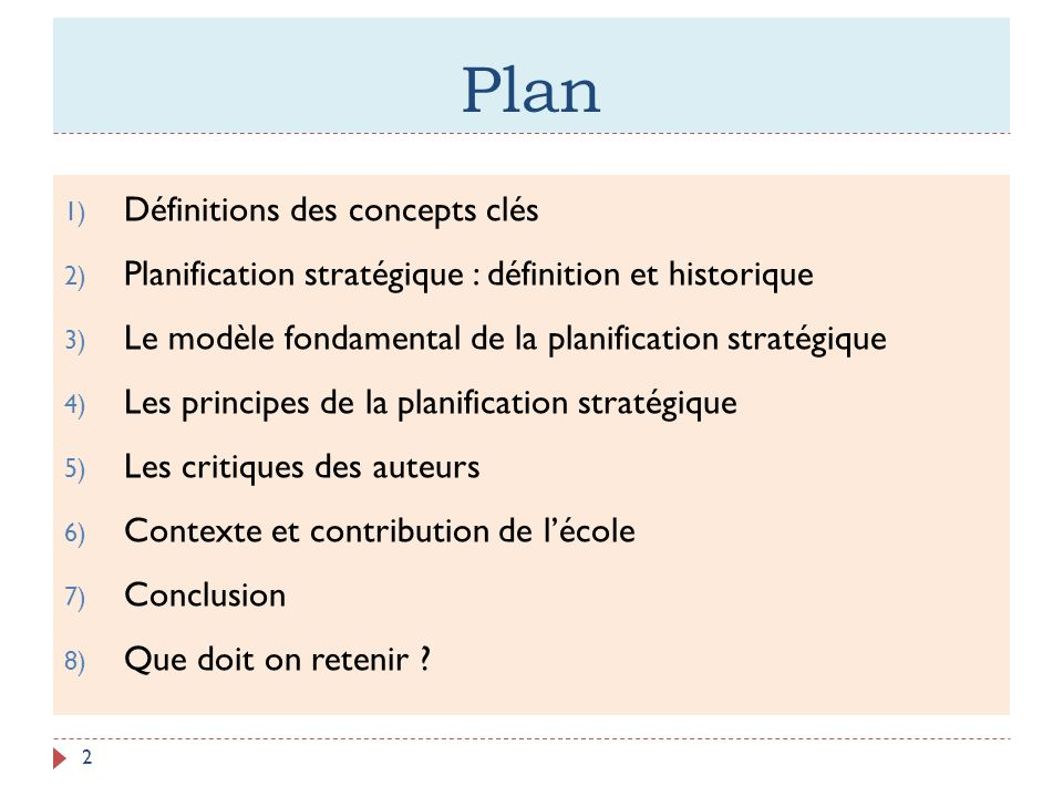 Plan Définitions des concepts clés