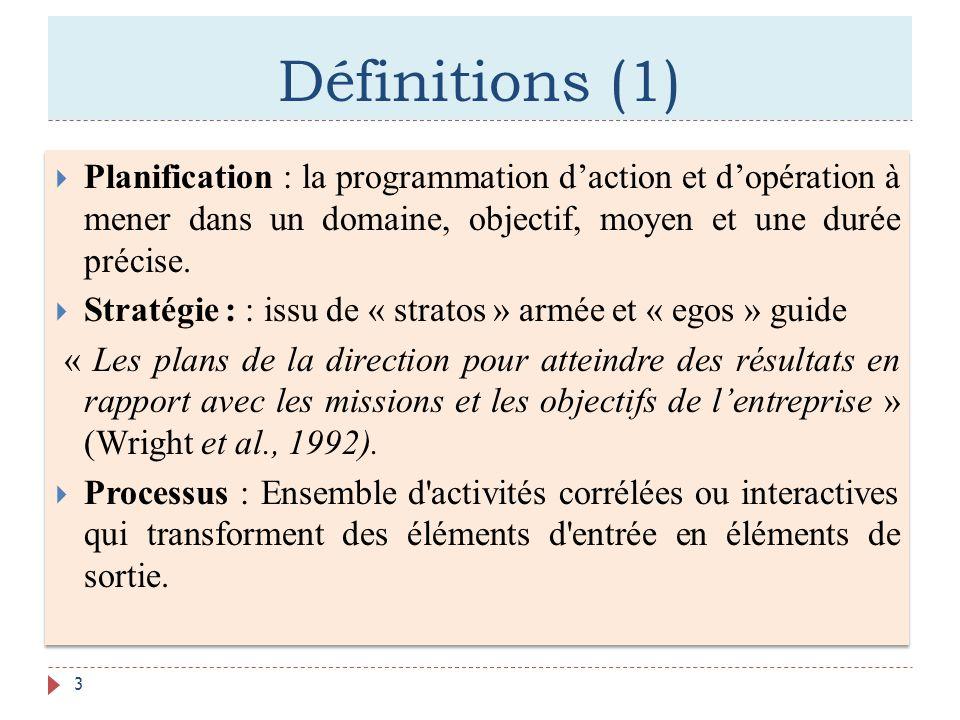 Définitions (1) Planification : la programmation d'action et d'opération à mener dans un domaine, objectif, moyen et une durée précise.