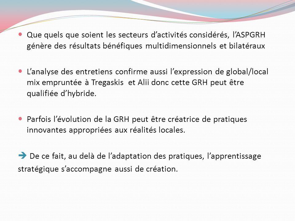Que quels que soient les secteurs d'activités considérés, l'ASPGRH génère des résultats bénéfiques multidimensionnels et bilatéraux