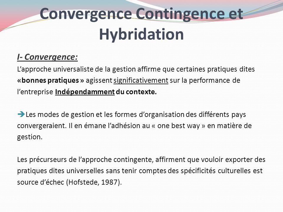 Convergence Contingence et Hybridation