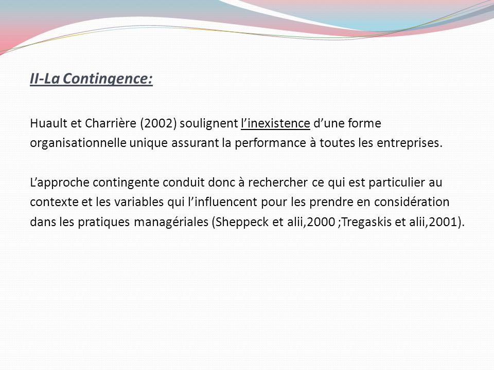 II-La Contingence: Huault et Charrière (2002) soulignent l'inexistence d'une forme.