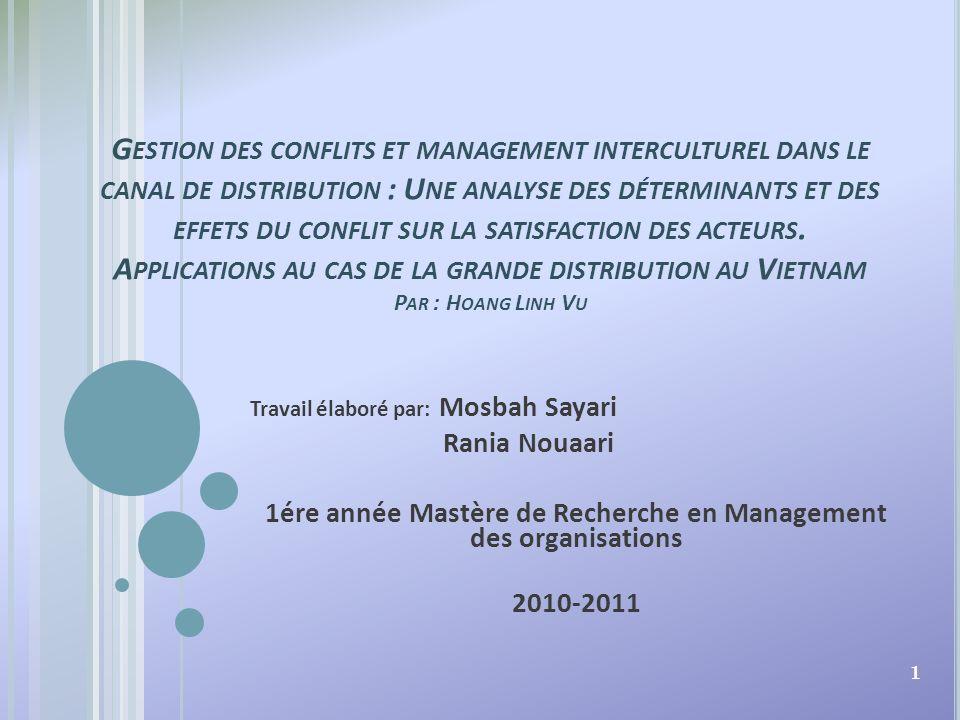 1ére année Mastère de Recherche en Management des organisations