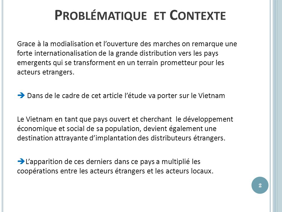 Problématique et Contexte