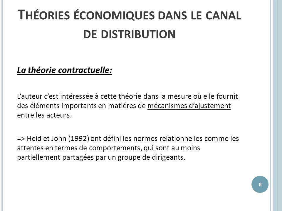 Théories économiques dans le canal de distribution