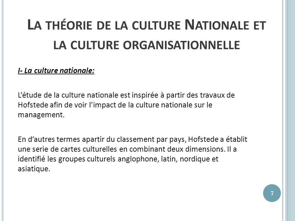 La théorie de la culture Nationale et la culture organisationnelle
