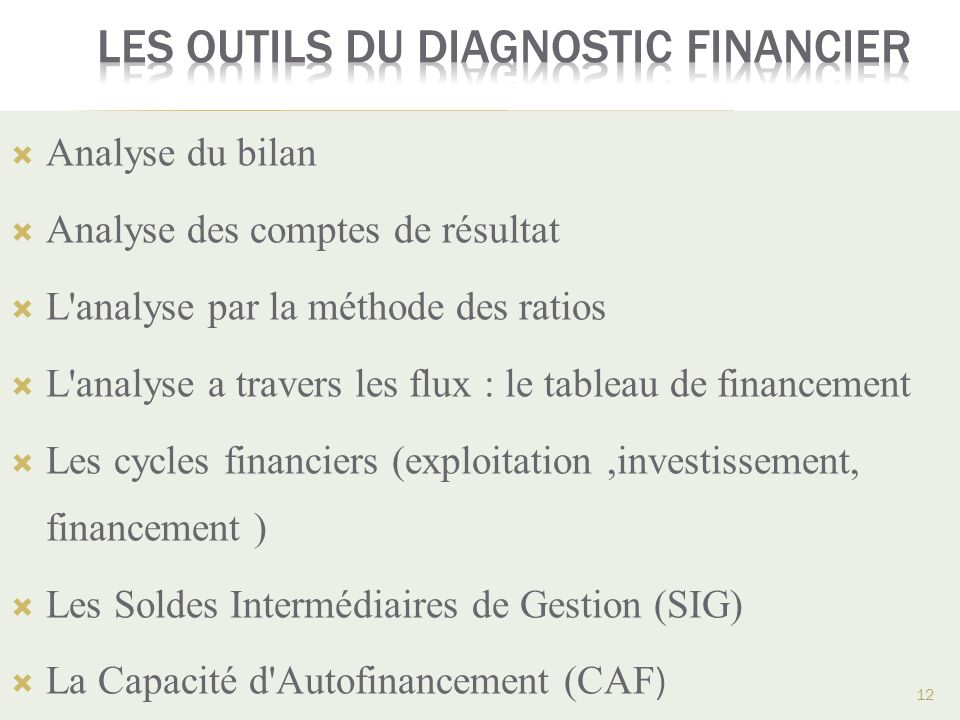 Les outils du diagnostic financier