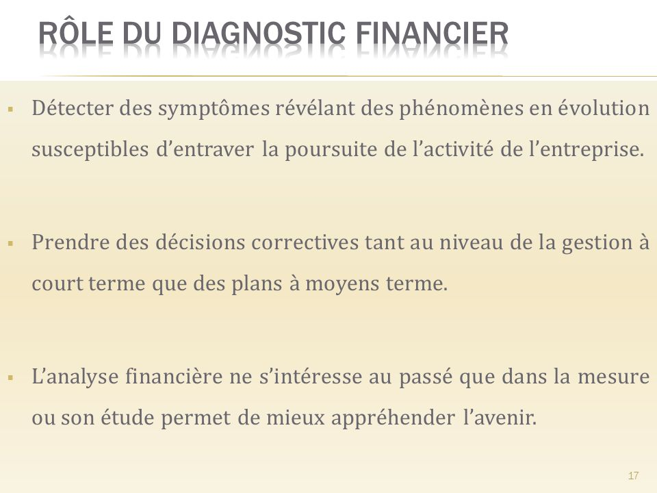Rôle du diagnostic financier