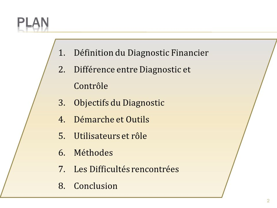 Plan Définition du Diagnostic Financier