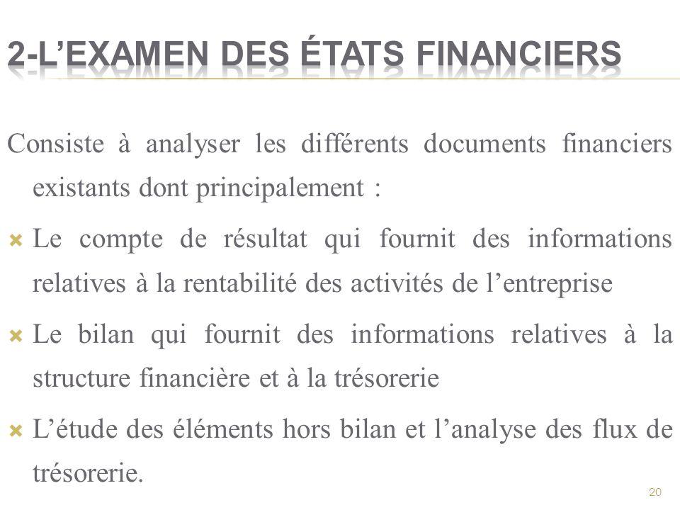 2-L'examen des états financiers