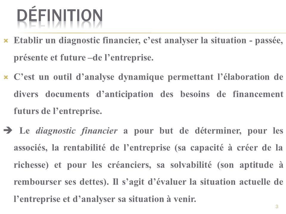 Définition Etablir un diagnostic financier, c'est analyser la situation - passée, présente et future –de l'entreprise.