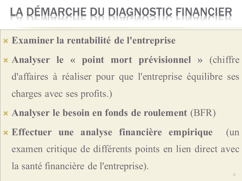 La démarche du diagnostic financier