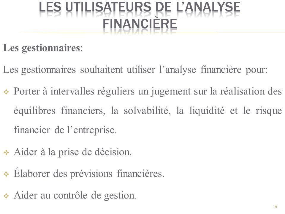Les utilisateurs de l'analyse financière