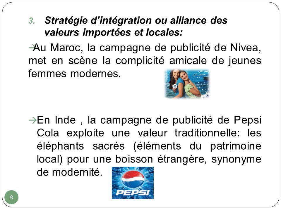 Stratégie d'intégration ou alliance des valeurs importées et locales: