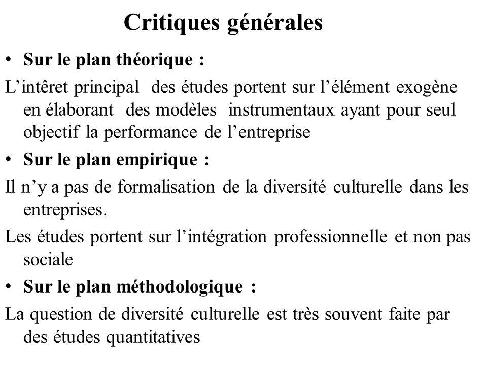 Critiques générales Sur le plan théorique :