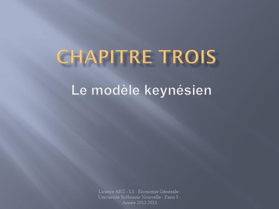 Chapitre TROIS Le modèle keynésien Jean LATREILLE