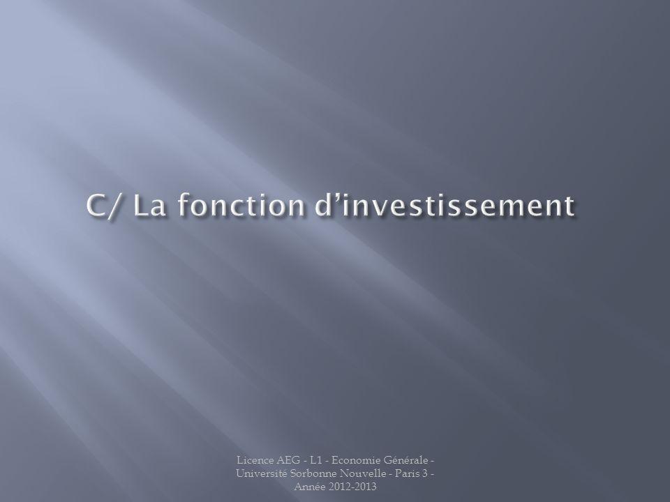 C/ La fonction d'investissement