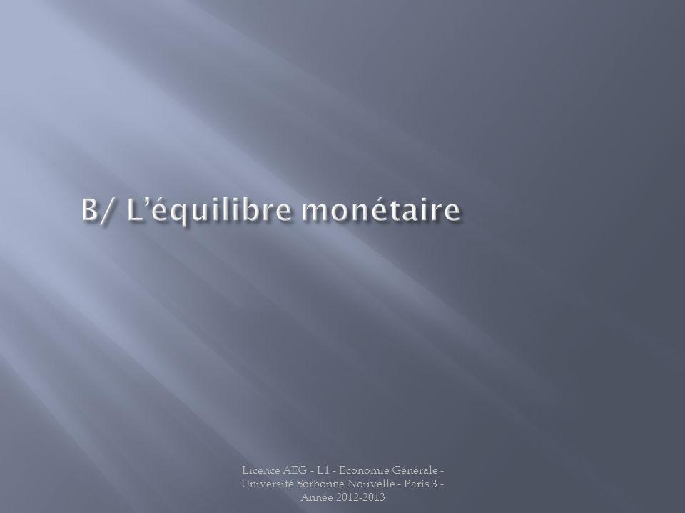 B/ L'équilibre monétaire