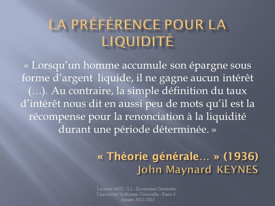 La préférence pour la liquidité
