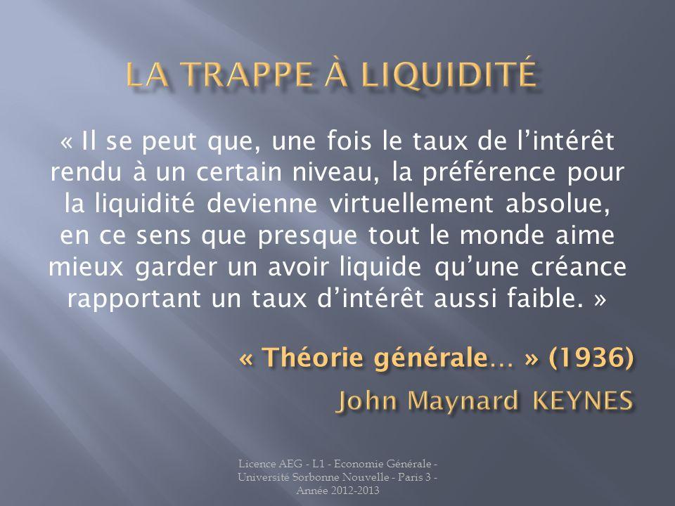 La trappe à liquidité