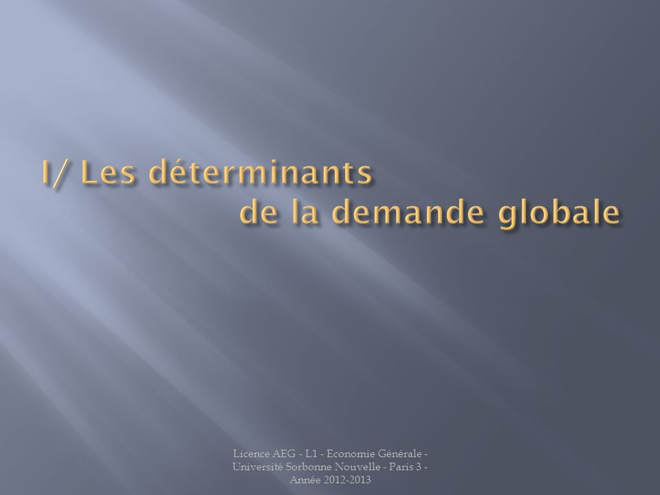 I/ Les déterminants de la demande globale