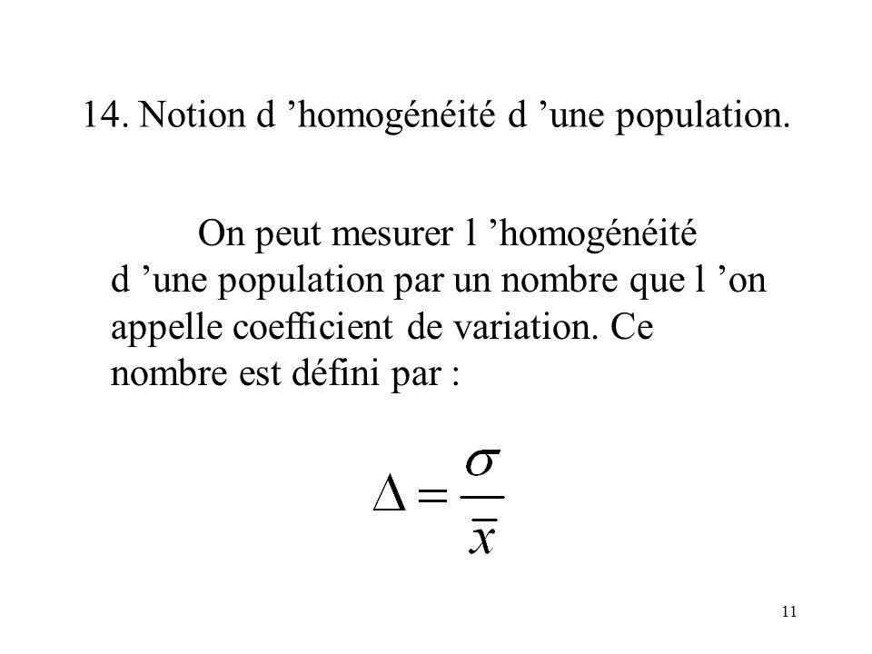 14. Notion d 'homogénéité d 'une population.