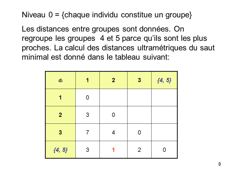 Niveau 0 = {chaque individu constitue un groupe}