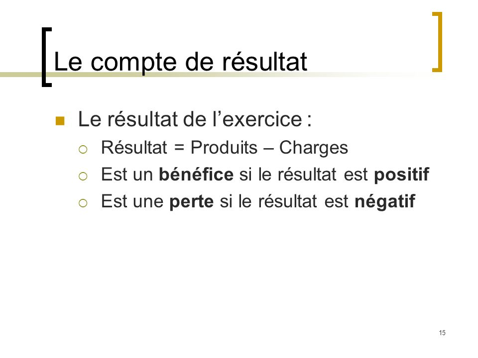 Le compte de résultat Le résultat de l'exercice :