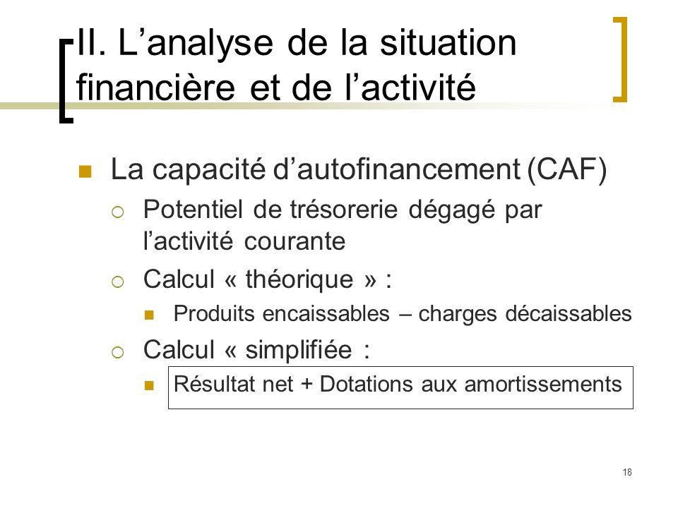 II. L'analyse de la situation financière et de l'activité