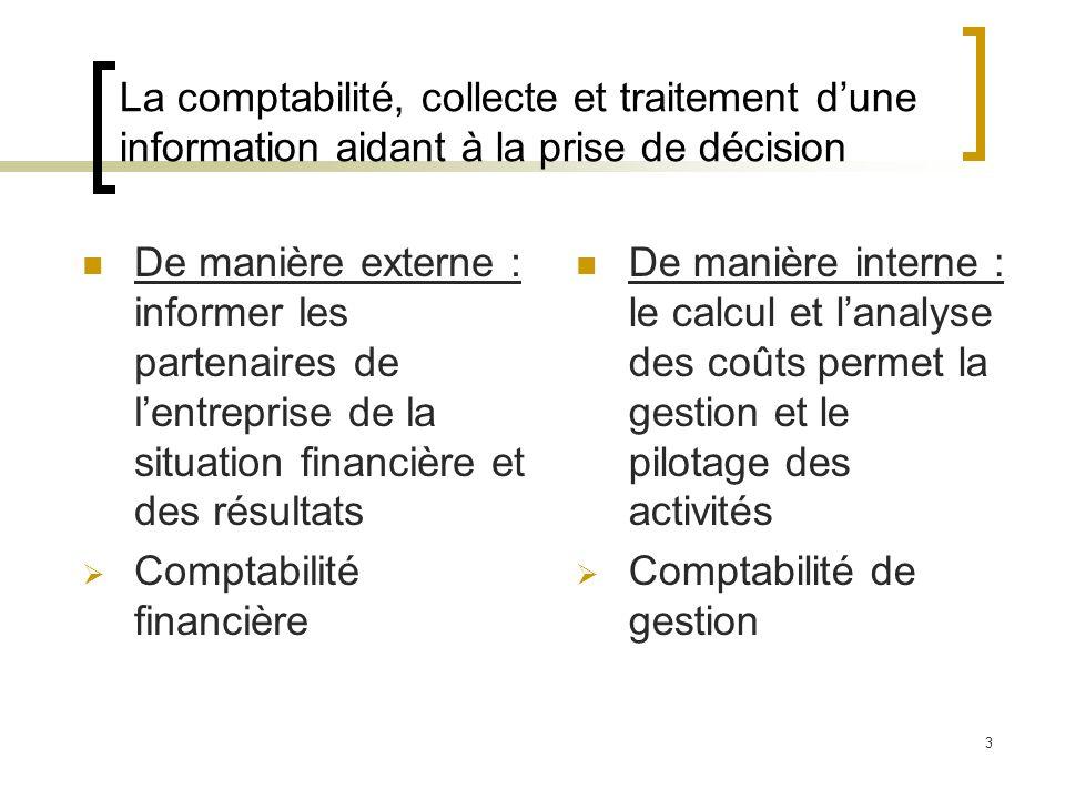 La comptabilité, collecte et traitement d'une information aidant à la prise de décision
