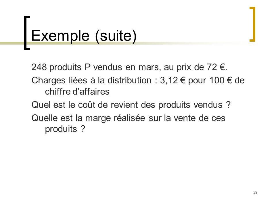 Exemple (suite) 248 produits P vendus en mars, au prix de 72 €.