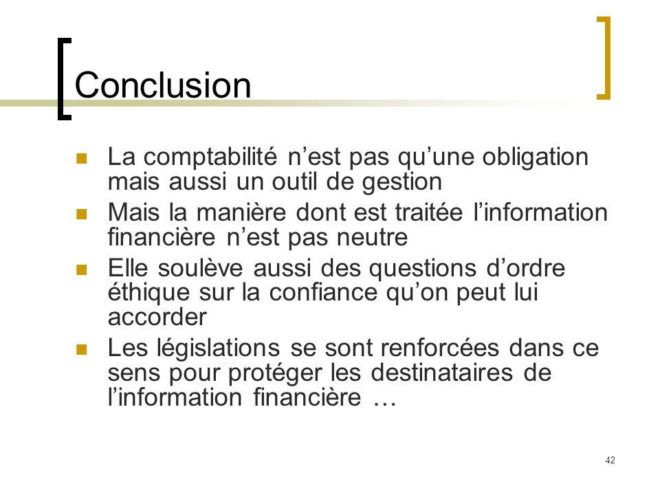 Conclusion La comptabilité n'est pas qu'une obligation mais aussi un outil de gestion.