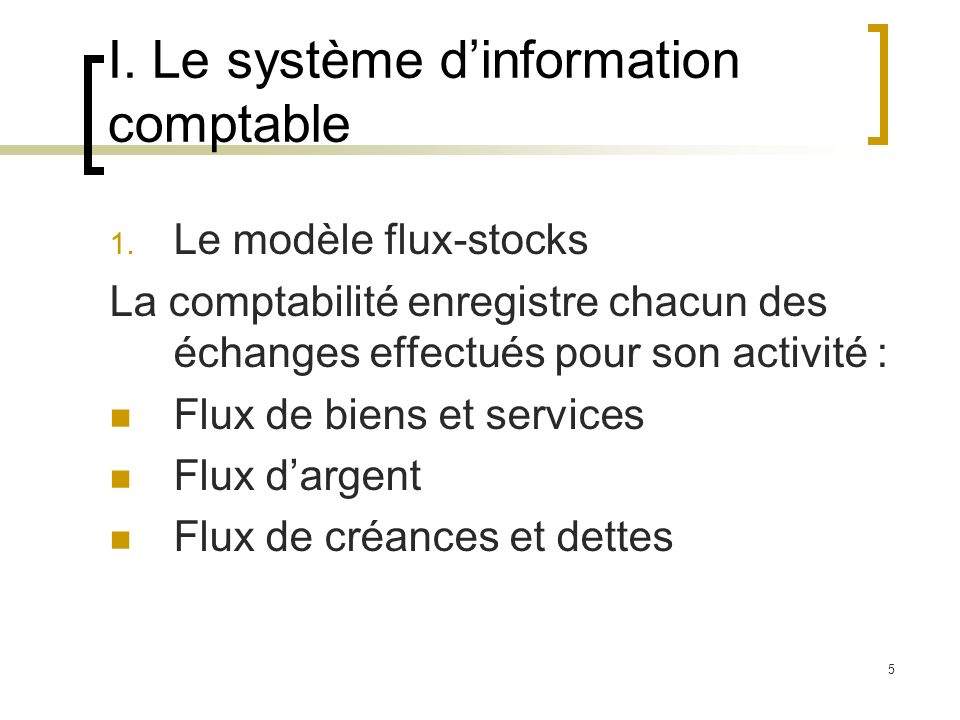 I. Le système d'information comptable