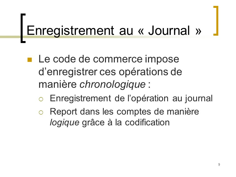 Enregistrement au « Journal »