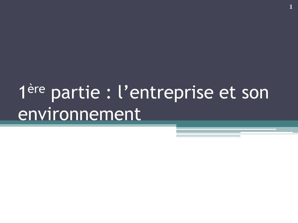 1ère partie : l'entreprise et son environnement