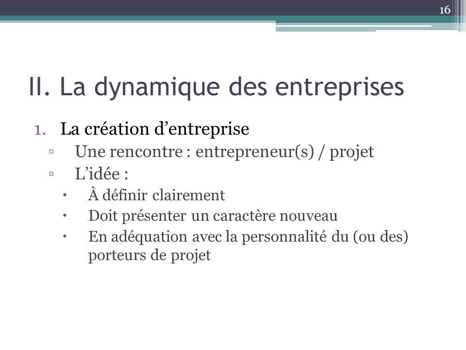 II. La dynamique des entreprises
