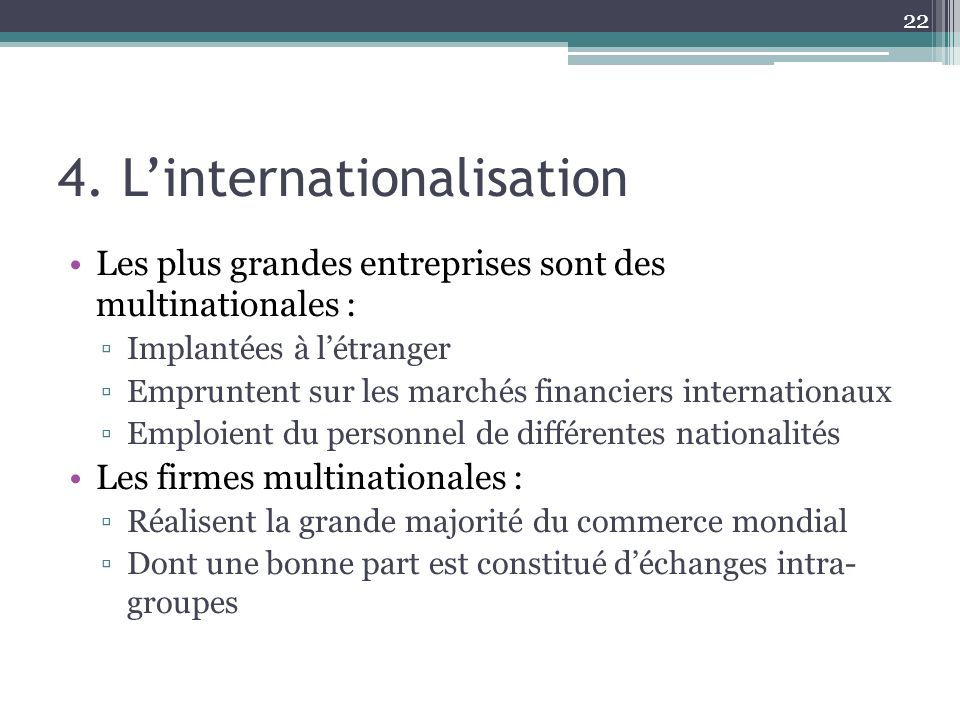 4. L'internationalisation