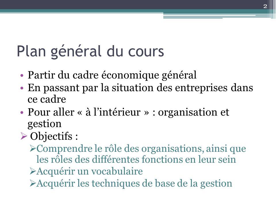 Plan général du cours Partir du cadre économique général