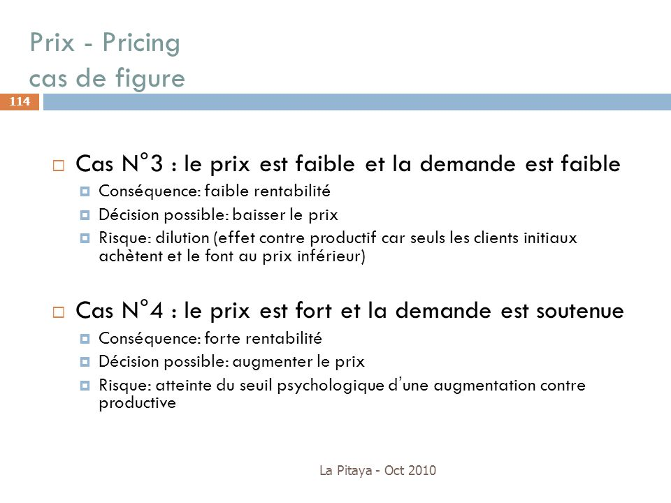 Prix - Pricing cas de figure