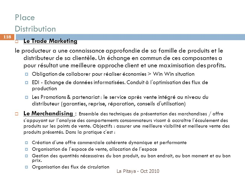 Place Distribution Le Trade Marketing
