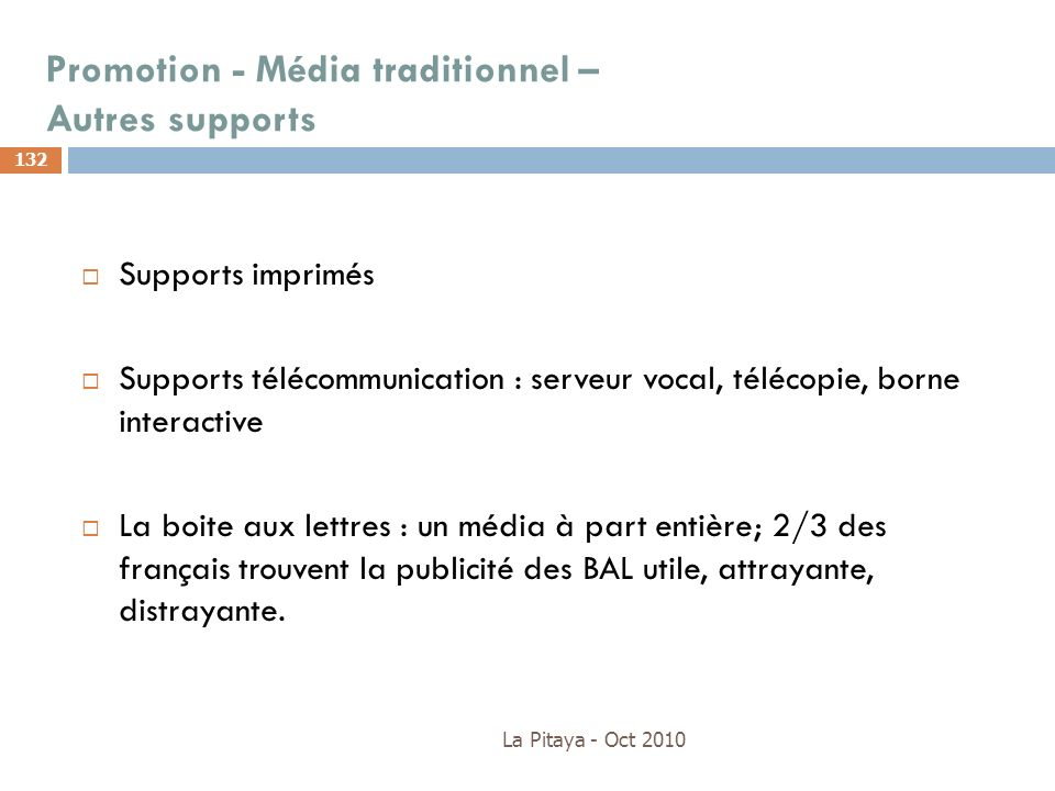 Promotion - Média traditionnel – Autres supports