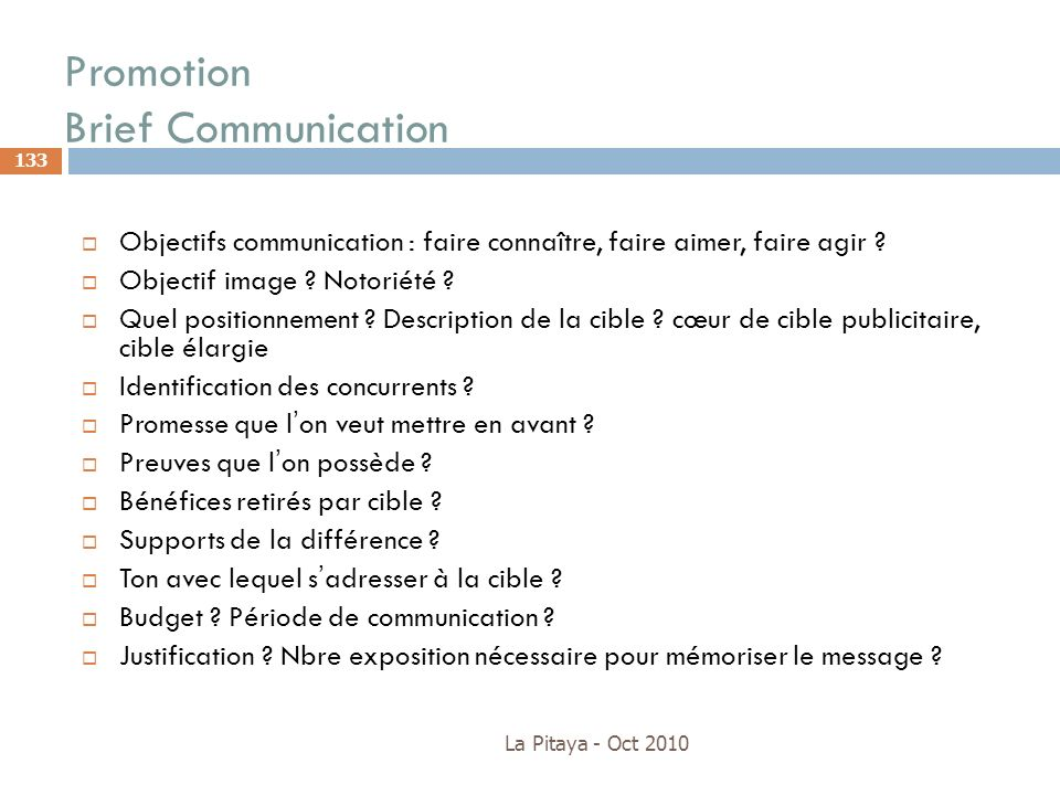 Promotion Brief Communication