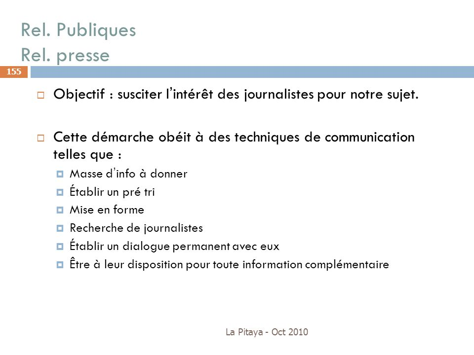 Rel. Publiques Rel. presse
