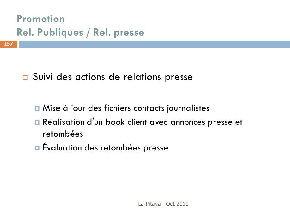 Promotion Rel. Publiques / Rel. presse